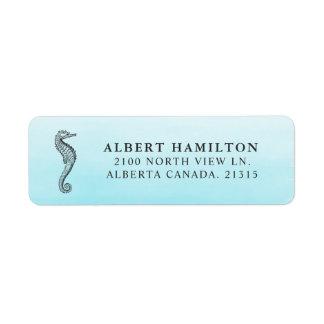 Blue Ocean Seahorse | Personalized Return Address