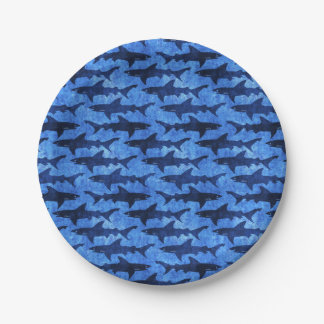 Blue Ocean Shark Attack Paper Plate