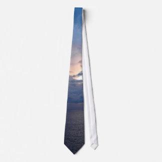 Blue ocean sunset tie