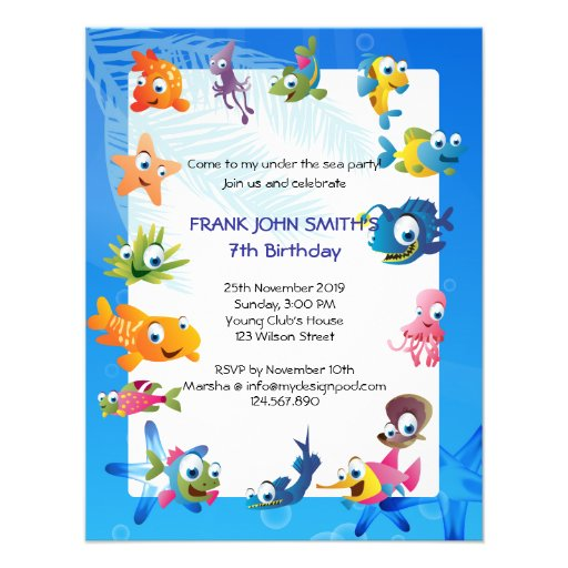 Blue Ocean Theme Children's Birthday Party Personalized Announcement