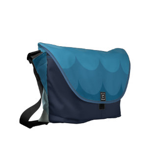 Blue ocean wave pattern commuter bags