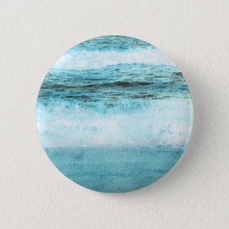 Blue Ocean Waves Beach 2 Inch Round Button