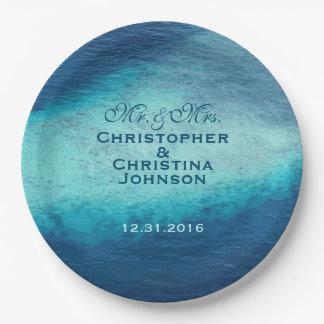 Blue Ocean Waves White Sand Reefs Wedding Custom 9 Inch Paper Plate