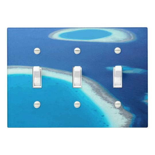 Blue Ocean White Sand Lagoons Tropical Maldives Light Switch Cover