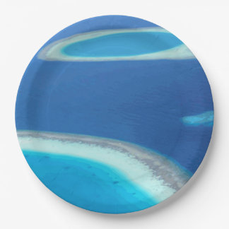 Blue Ocean White Sand Reef Party Celebration Blank 9 Inch Paper Plate