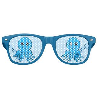 Blue Octopus Beach Vacation Retro Sunglasses