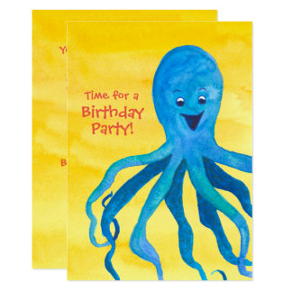 Blue Octopus Birthday Party Invitation