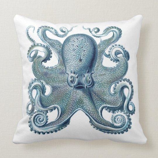 Blue Octopus on White, Nautical Throw Pillow