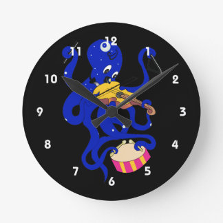 blue octopus playing multiple percussion.png round clock