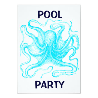"Blue Octopus Pool Party 5"" X 7"" Invitation Card"