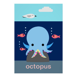 Blue Octopus Poster