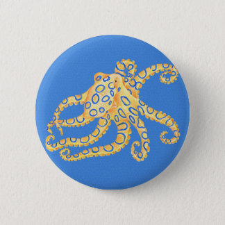 Blue Octopus Stained Glass 2 Inch Round Button