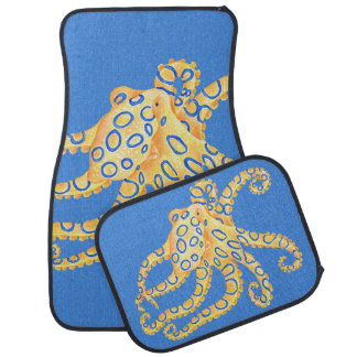 Blue Octopus Stained Glass Car Mat