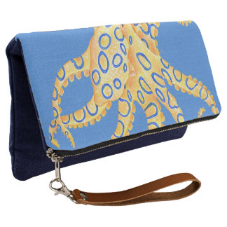 Blue Octopus Stained Glass Clutch