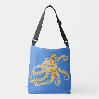 Blue Octopus Stained Glass Crossbody Bag