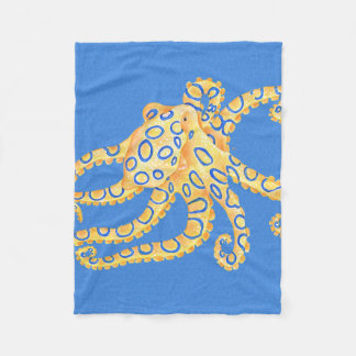 Blue Octopus Stained Glass Fleece Blanket