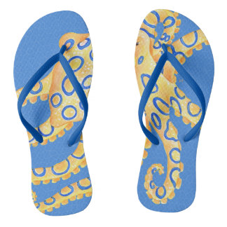 Blue Octopus Stained Glass Flip Flops