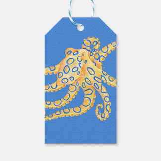 Blue Octopus Stained Glass Gift Tags