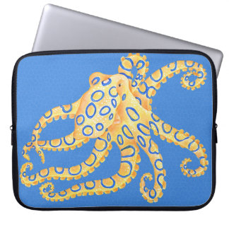 Blue Octopus Stained Glass Laptop Sleeve