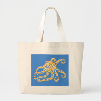 Blue Octopus Stained Glass Large Tote Bag