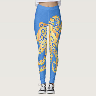 Blue Octopus Stained Glass Leggings