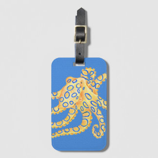 Blue Octopus Stained Glass Luggage Tag
