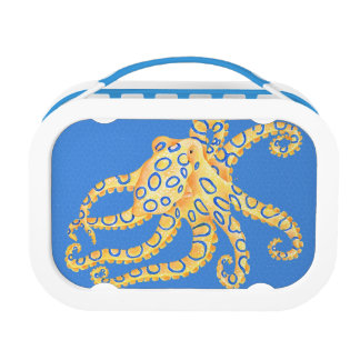 Blue Octopus Stained Glass Lunch Box