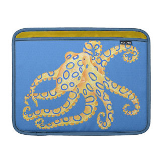 Blue Octopus Stained Glass MacBook Sleeve