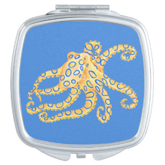 Blue Octopus Stained Glass Makeup Mirror