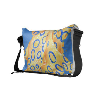 Blue Octopus Stained Glass Messenger Bags