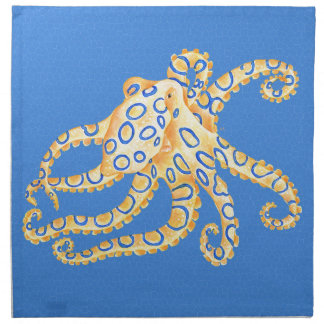 Blue Octopus Stained Glass Napkin