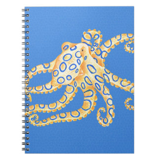 Blue Octopus Stained Glass Notebook