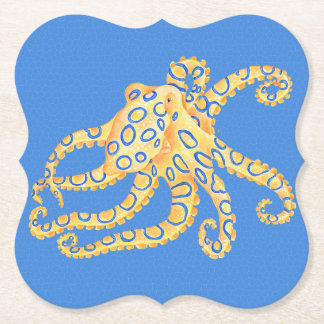 Blue Octopus Stained Glass Paper Coaster