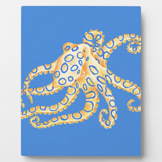 Blue Octopus Stained Glass Plaque