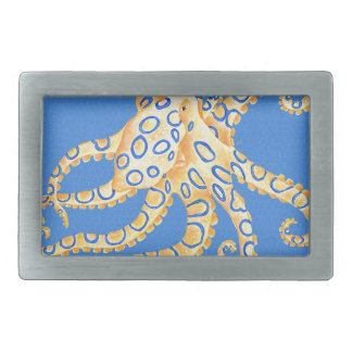 Blue Octopus Stained Glass Rectangular Belt Buckles