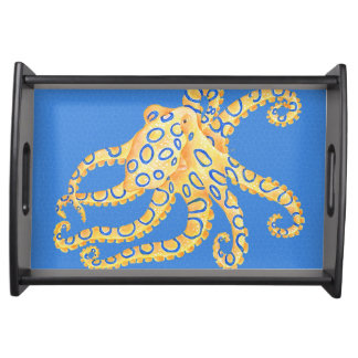 Blue Octopus Stained Glass Serving Tray