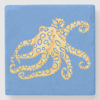 Blue Octopus Stained Glass Stone Coaster