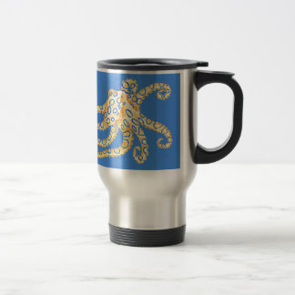 Blue Octopus Stained Glass Travel Mug