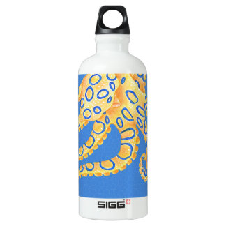 Blue Octopus Stained Glass Water Bottle