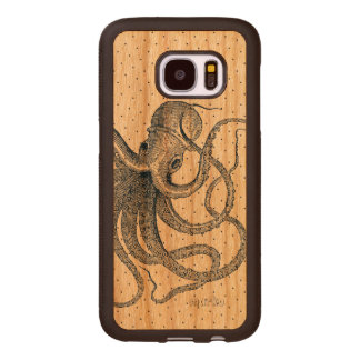 Blue Octopus Vintage Nautical Design Wood Samsung Galaxy S7 Case