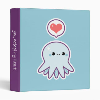 Blue Octopus Vinyl Binder