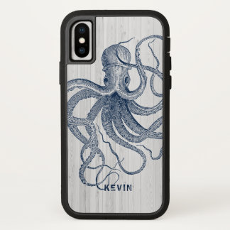 Blue Octopus White Faux Wood Planks iPhone X Case