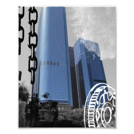 Blue Office Buildings Photograph