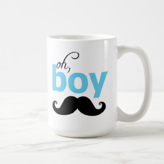 Blue Oh Boy Mustache Statement Mug