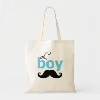 Blue Oh Boy Mustache Tote Bag