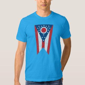 Blue Ohio State Flag Vintage Grunge Columbus Love Tee Shirt