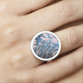 Blue Oil Abstract Design Ring