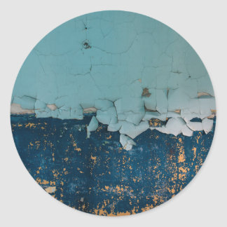 Blue old peeling paint texture round sticker