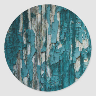 Blue Old Peeling Paint Wood Wall Texture Round Sticker