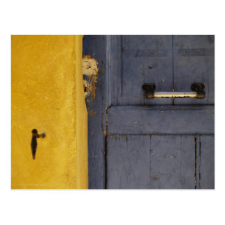 Blue Old Wooden Door Postcard